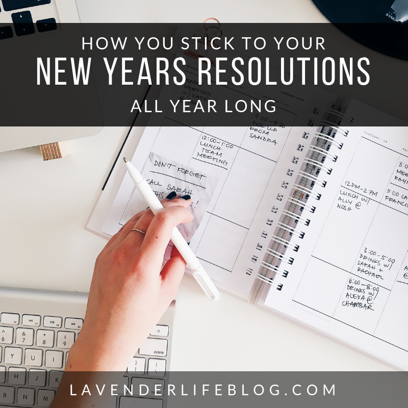 How to Stick To Your New Year's Resolutions All Year Long and advice on goal-setting and vision boards.