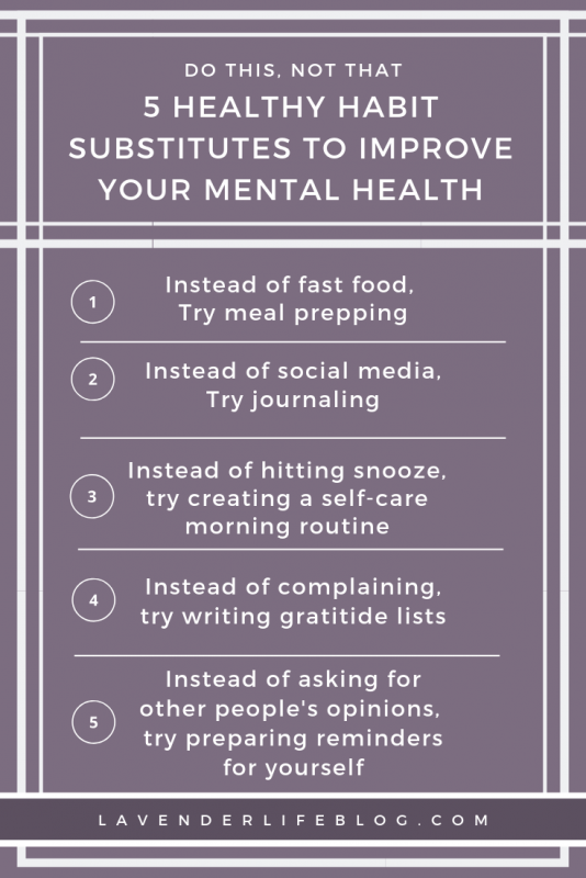Five Healthy Habit Substitutes to Try to Improve Your Mental Health